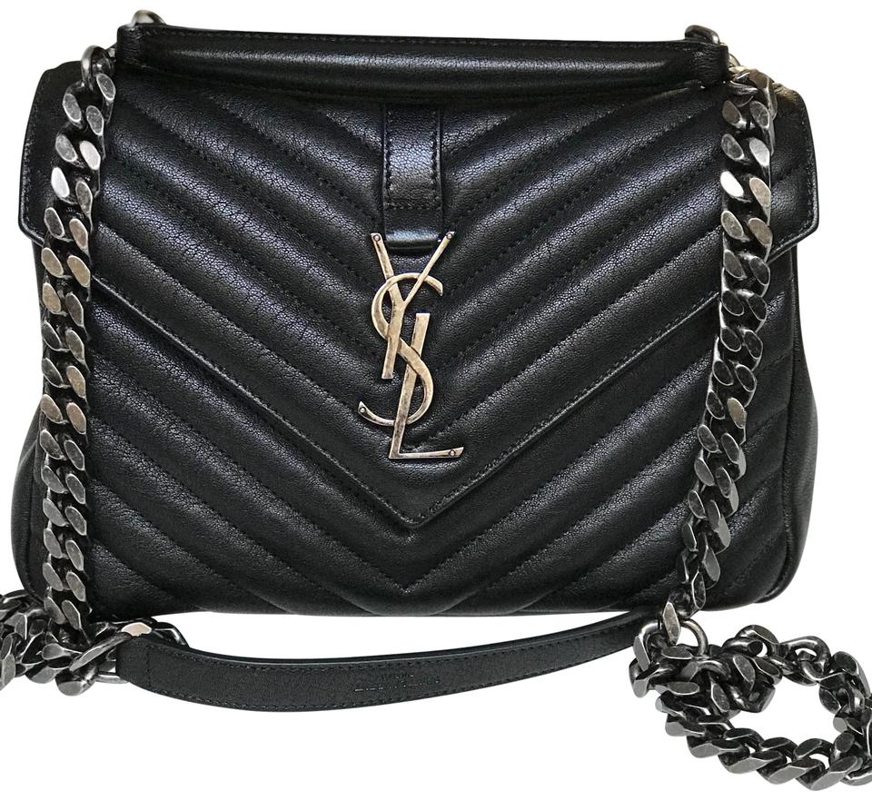e12cf8cb4a4f Saint Laurent Classic Medium Monogram Matellase College Black Sheepskin Leather  Shoulder Bag