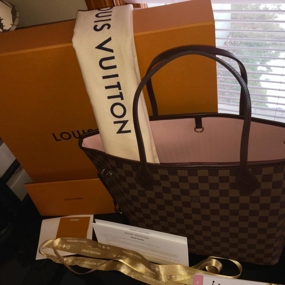 Louis Vuitton Neverfull Mm Interior Damier Ebene With Rose Ballerine Leather Canvas Tote Tradesy