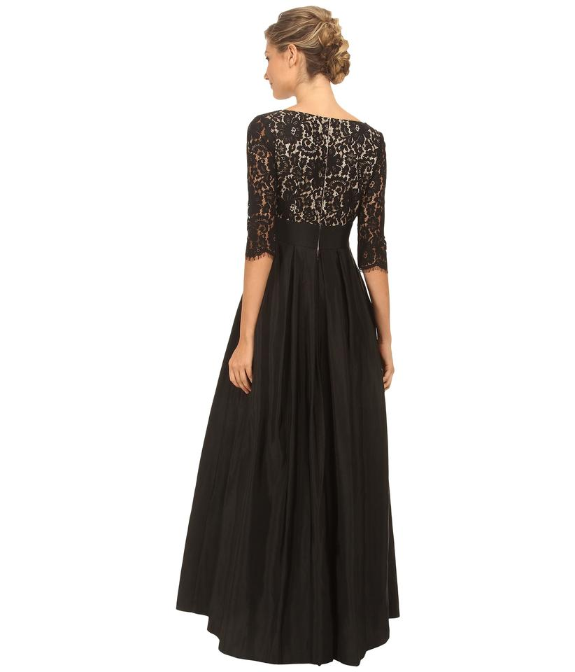 Eliza J Black Surplice Lace Ballgown Long Formal Dress Size 6 (S ...