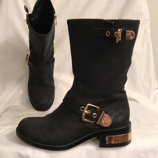 Item - Black Gold Winchell Distressed Leather Motorcycle/Biker Boots/Booties Size US 7 Regular (M, B)