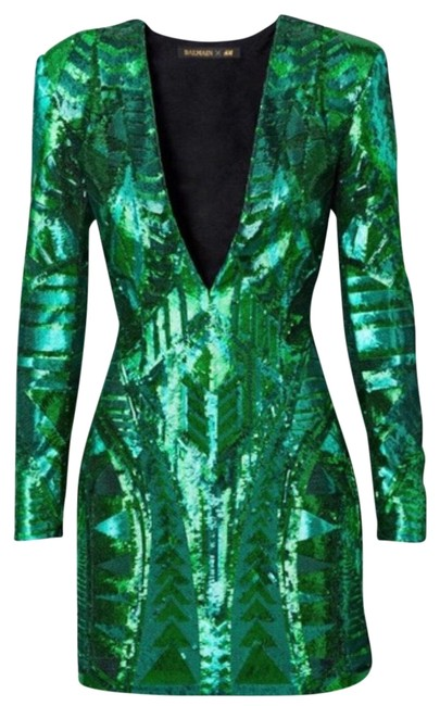 Item - Green Sequin Mini Short Night Out Dress Size 6 (S)