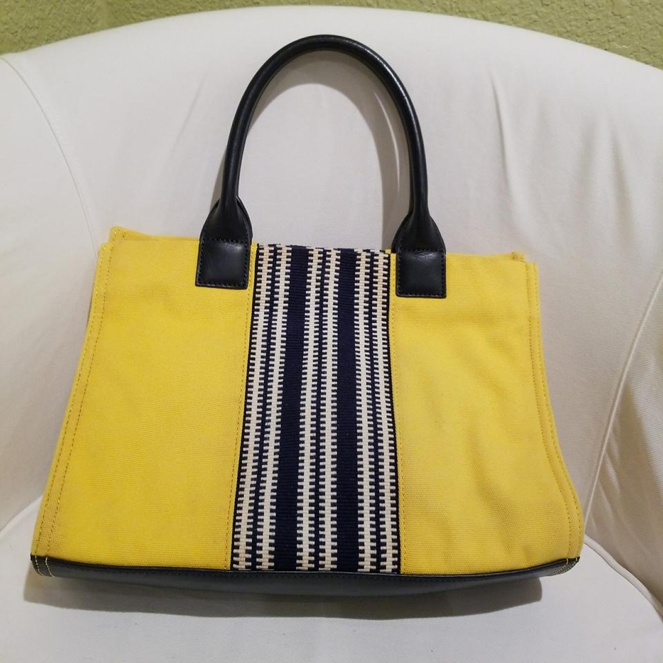 f695879dc29 Tory Burch Ella Center Stripe Yellow Canvas Tote - Tradesy