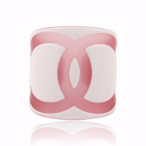 Cédric Charlier Pink & White Logo Wide Acrylic Cuff Bracelet