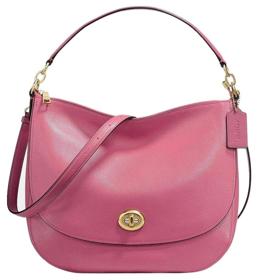ebff72a446 Coach Saddle Turnlock Hobo In Pebble Crossbody 24771 Rouge Light Gold  Leather Shoulder Bag