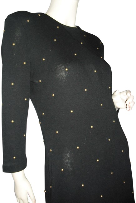 Item - W Gold Studs Knit Vintage Unique One-of-a-kind Bodycon Bodyfit Mid-length Night Out Dress Size 6 (S)