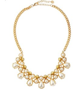 Jules Smith Pearl Necklace Gold-Tone Pyramid Statement Chain