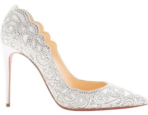 a4c011bb448c Christian Louboutin White Top Vague Cinderella Strass Leather ...