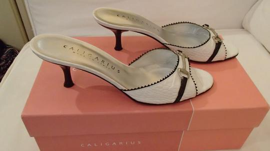 Caligarius Patent Leather Crocodile Print Heels Made In Italy Italian Leather White Pumps