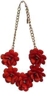 BaubleBar Red Flower Statement Necklace