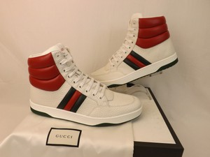 Gucci White Leather Web Logo Lace Up Hi Top 368494 Sneakers 7.5 8.5 Shoes
