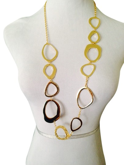 2 B Rych NWOT Hammered & Smooth Odd Shaped Ovals & Chain Long Necklace