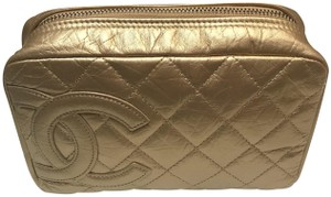 Chanel Metallic Pouch Zip Around Wallet Gold Clutch