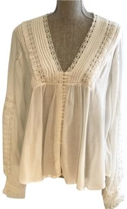 Free People Tops Peasant Tops Boho Tops Size Small Blouses Button Down Shirt Ivory