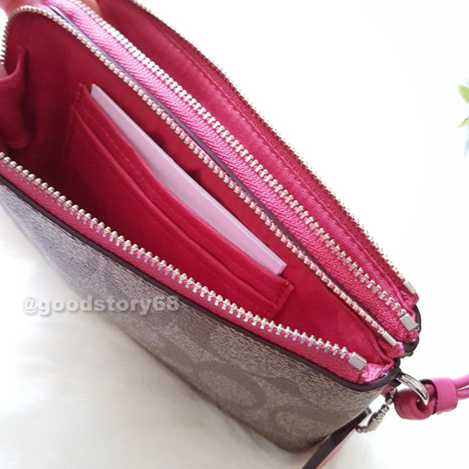 1ad96898e6ca Coach COACH F87591 SIGNATURE COATED CANVAS DOUBLE CORNER ZIP WALLET Image  7. 12345678