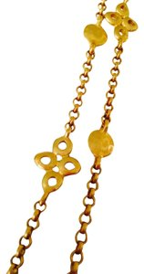 Frieda Rothman Belargo NWOT 4 Leaf Clover & Disc Gold-Tone Long Necklace