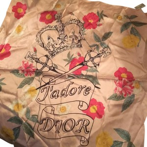Dior pink Dior silk scarf with crown and flowers