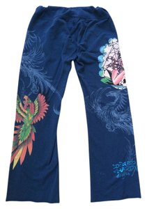 Don.Ed Hardy Tattoo Dragon Girl Parrot Blue Orange Nautical Relaxed Pants Blue multi