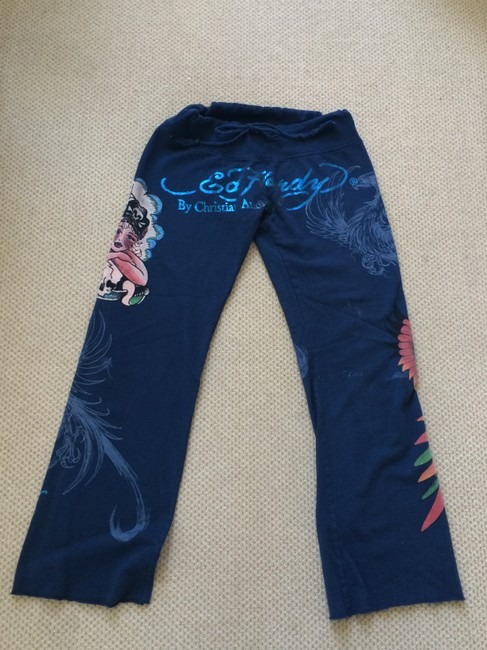 Don.Ed Hardy Tattoo Pirate Dragon Girl Parrot Orange Nautical Relaxed Pants Blue multi
