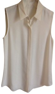 Theory Silk Button Down Top Ivory