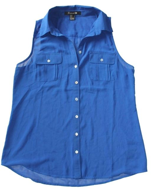 Forever 21 Button Up Top Cobalt