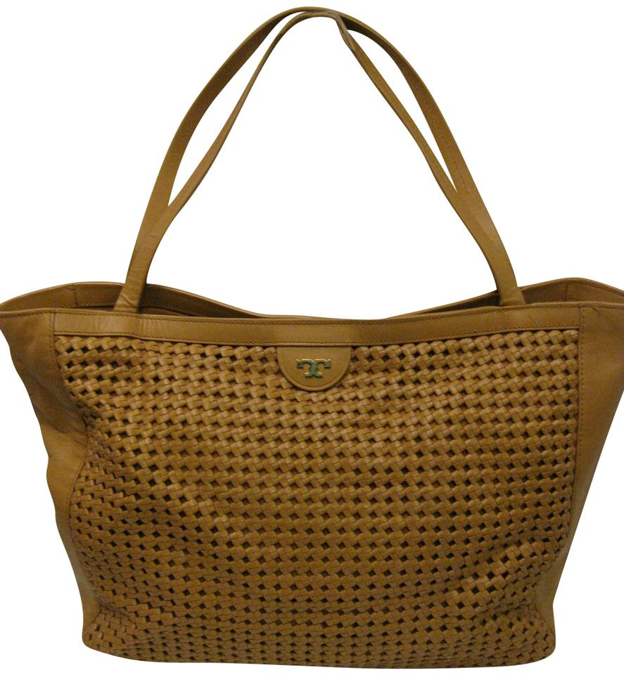 993a92045b3 Tory Burch Romi Woven Purse Ret. Tan Leather Tote - Tradesy