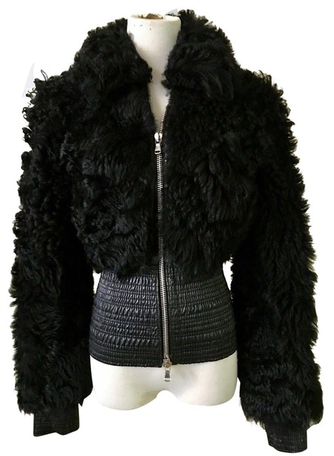 Item - Black Curly Shearling Fur Us / 42 It New Jacket Size 8 (M)