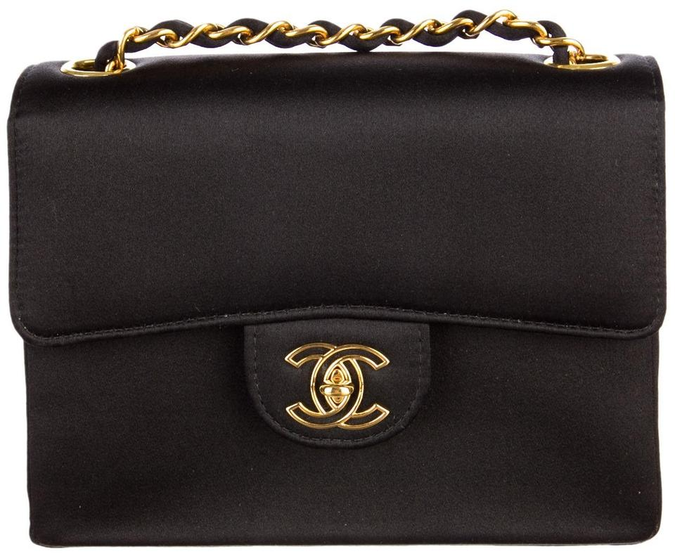 9565fae2fbb6 Chanel 2.55 Reissue Classic Mini Flap Cc Logo Small Square Crossbody  Quilted Black Gold Satin Shoulder Bag