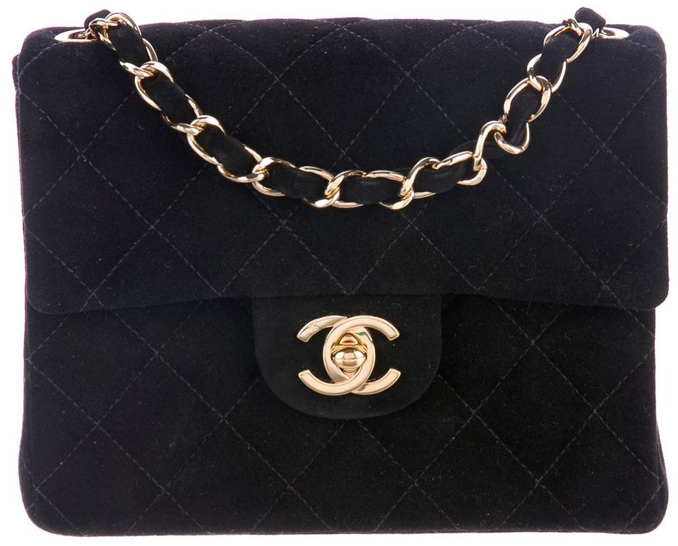 7e0b040403b2aa Chanel 2.55 Reissue Classic Mini Flap Cc Logo Small Square Crossbody  Quilted Black Gold Suede Leather Shoulder Bag
