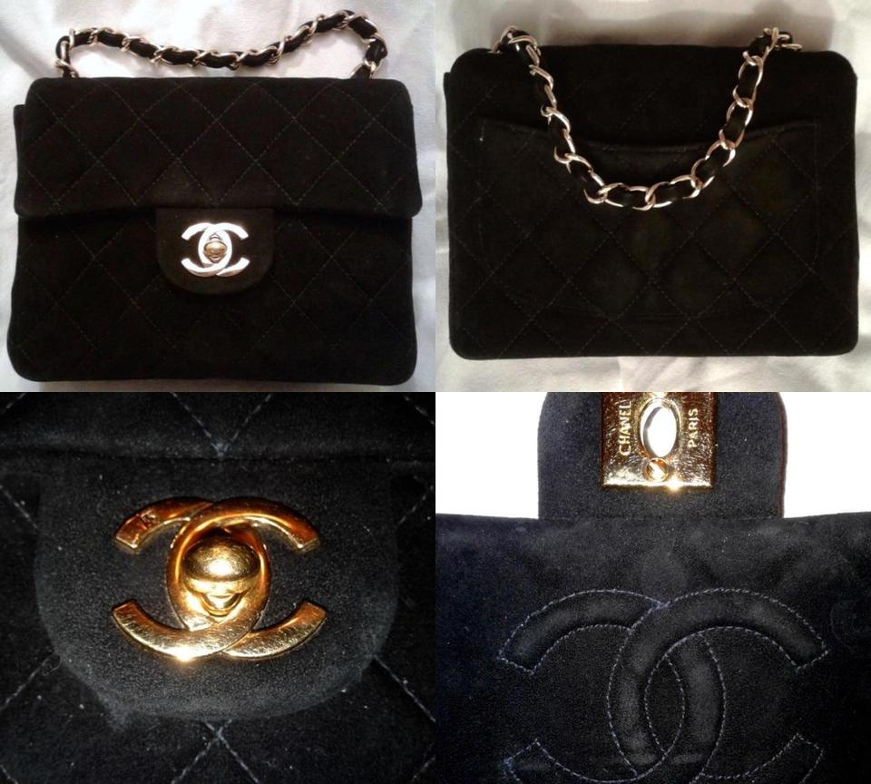 bedc0d36371974 Chanel 2.55 Reissue Classic Mini Flap Cc Logo Small Square Crossbody  Quilted Black Gold Suede Leather Shoulder Bag - Tradesy