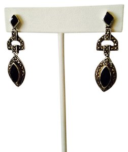 My Closet- Embellished by Leecia Vintage Art Deco Black Onyx In Sterling Silver Dangle Earrings