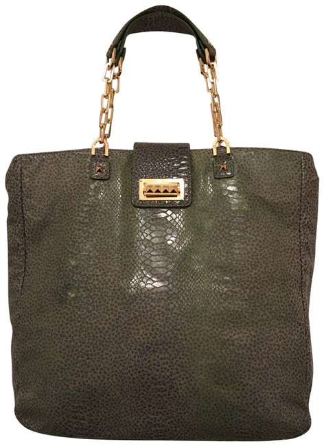 Item - Leather/Suede Snake Print Green Blue Leather Satchel