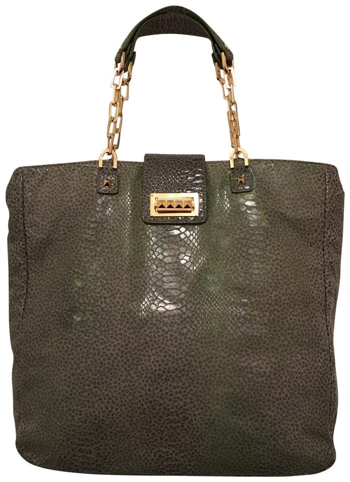 1f27a97ab16 Tory Burch Leather Suede Snake Print Green Blue Leather Satchel ...