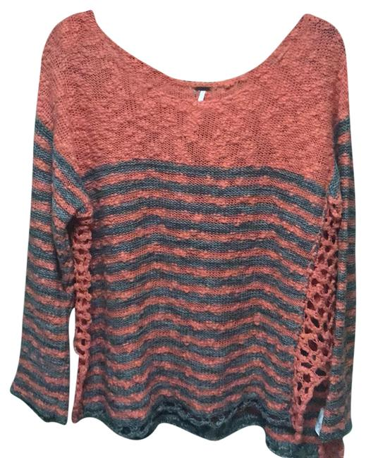 Preload https://img-static.tradesy.com/item/22514839/free-people-coral-and-gray-cotton-knit-sweaterpullover-size-12-l-0-1-650-650.jpg