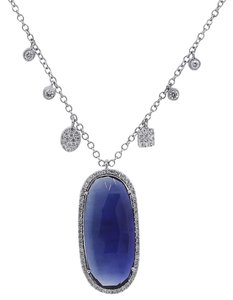 Meira T Meira T 14k White Gold 8.95ct Blue Sapphire and Diamond Necklace