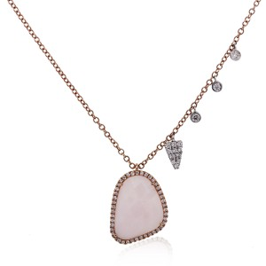 Meira T Meira T 14k Rose Gold 2.85ct Pink Opal and Diamond Necklace