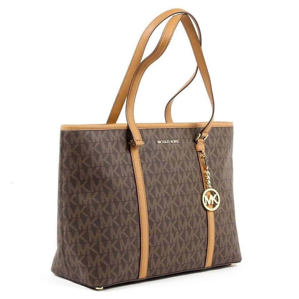 06d524c273c4 Michael Kors New Tags Large Carryall Brown Pvc and Leather Tote ...