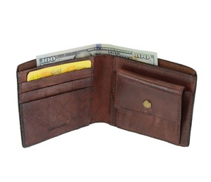 Other Men's Handcrafted Vintage Cow Leather Bifold Wallet Coin Pocket