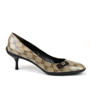 Gucci Crystal Guccissima Heel Beige/Ebony Pumps