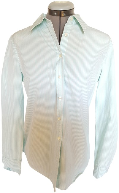 J.Crew Teal and White Button-down Top Size 8 (M) J.Crew Teal and White Button-down Top Size 8 (M) Image 1
