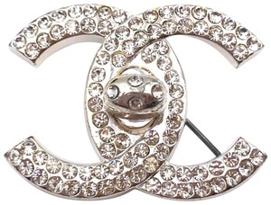 Chanel Chanel Rare Vintage Silver CC Crystal Turnlock Brooch