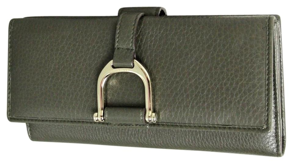 be8b9646ce6607 Gucci Green Greenwich Clutch W Leather Continental W/Coin Pocket 256940  Wallet