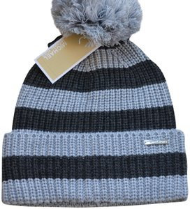 Michael Kors NWT MICHAEL KORS MK BEANIE WINTER HAT DERBY GRAY STRIPES ONE SIZE