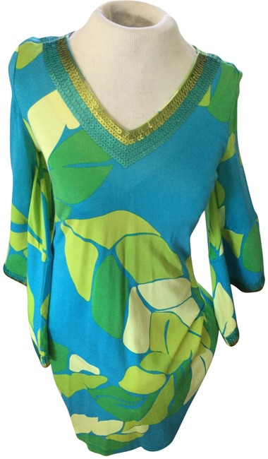 Item - Lime Green/Teal Blue Teal/Lime Tunic Sequin Small Mid-length Night Out Dress Size 6 (S)