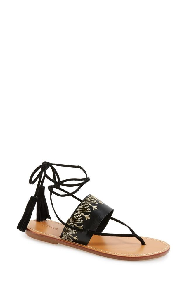 f0c9b589f92 Soludos Black Embroidered Lace Up Flat Thong Toe Sandals Size US 6 ...