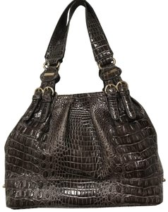 Jessica Simpson Crocodile Brown Grey Tote in Breige