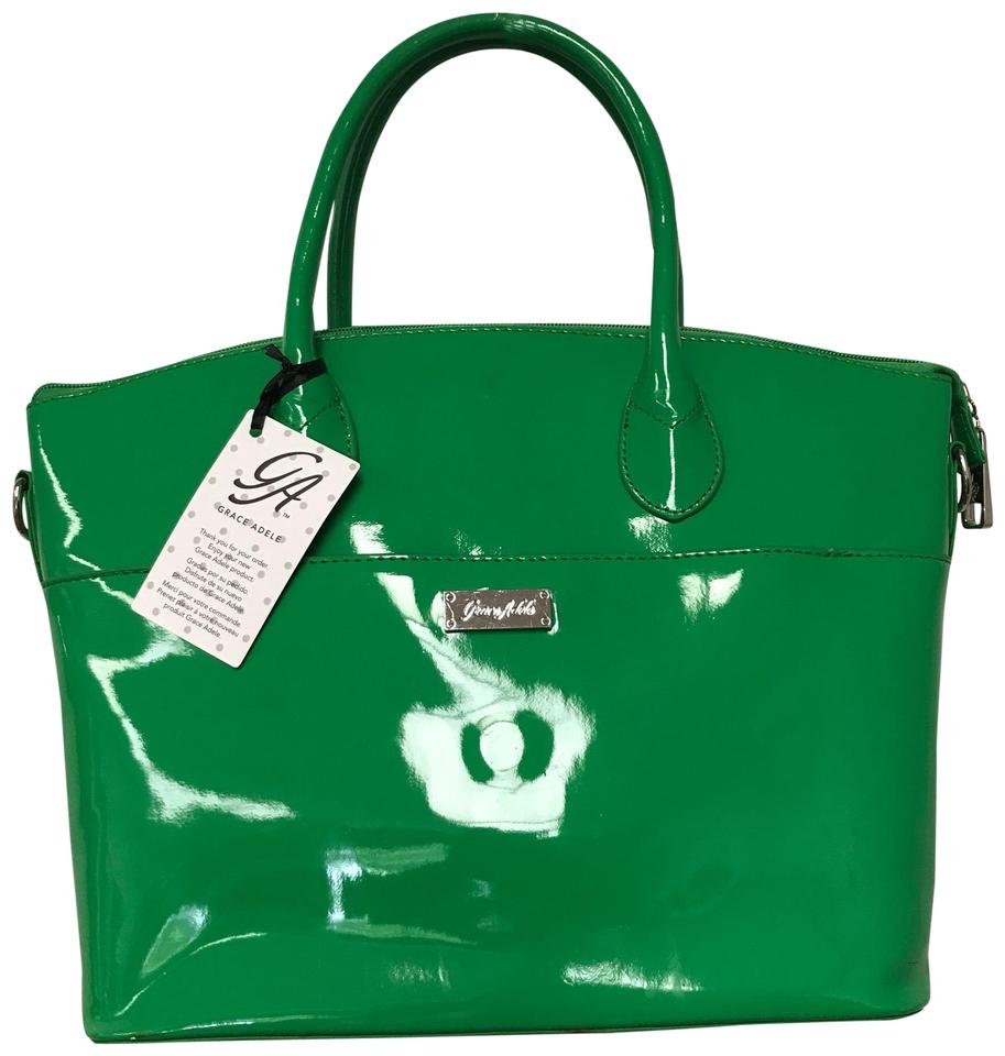Grace Adele Patent Leather Tote In Lime Green