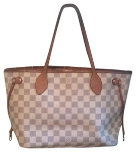 Louis Vuitton Neverfull Damier Ebene Azur Speedy Tote in White