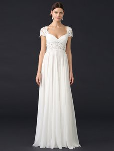 Reem Acra Cream with Nude Skirt Lining French Alencon Lace and Silk Chiffon Adele 5403 Formal Wedding Dress Size 10 (M)