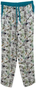Façonnable Printed Silk Birds Baggy Pants White