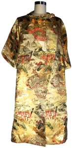 Henri Bendel Brocade Gold Asian Print Coat